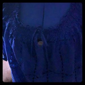 Royal blue Eyelet cotton blouse